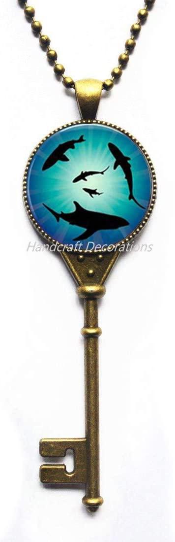 HandcraftDecorations Shark Charm Key Necklace,Shark Pendant Key Necklace Animal Key Necklace Animal Jewelry Ocean Key Necklace Beach Jewelry Gift.F225