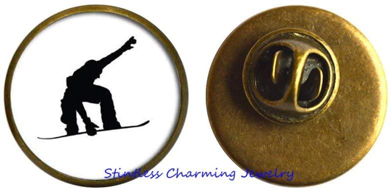 Handmade Snowboarding Brooch, Wnter Sport, Snowboard Pin,Snowboarder Jewelry, Snowboarding Gift -JV150