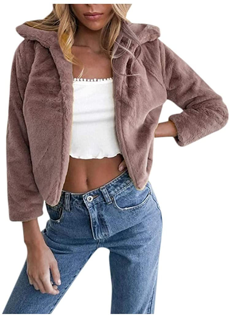 Women Luxury Faux Fur Coat Hooded Open Front Cardigan Evening Cape for Winter