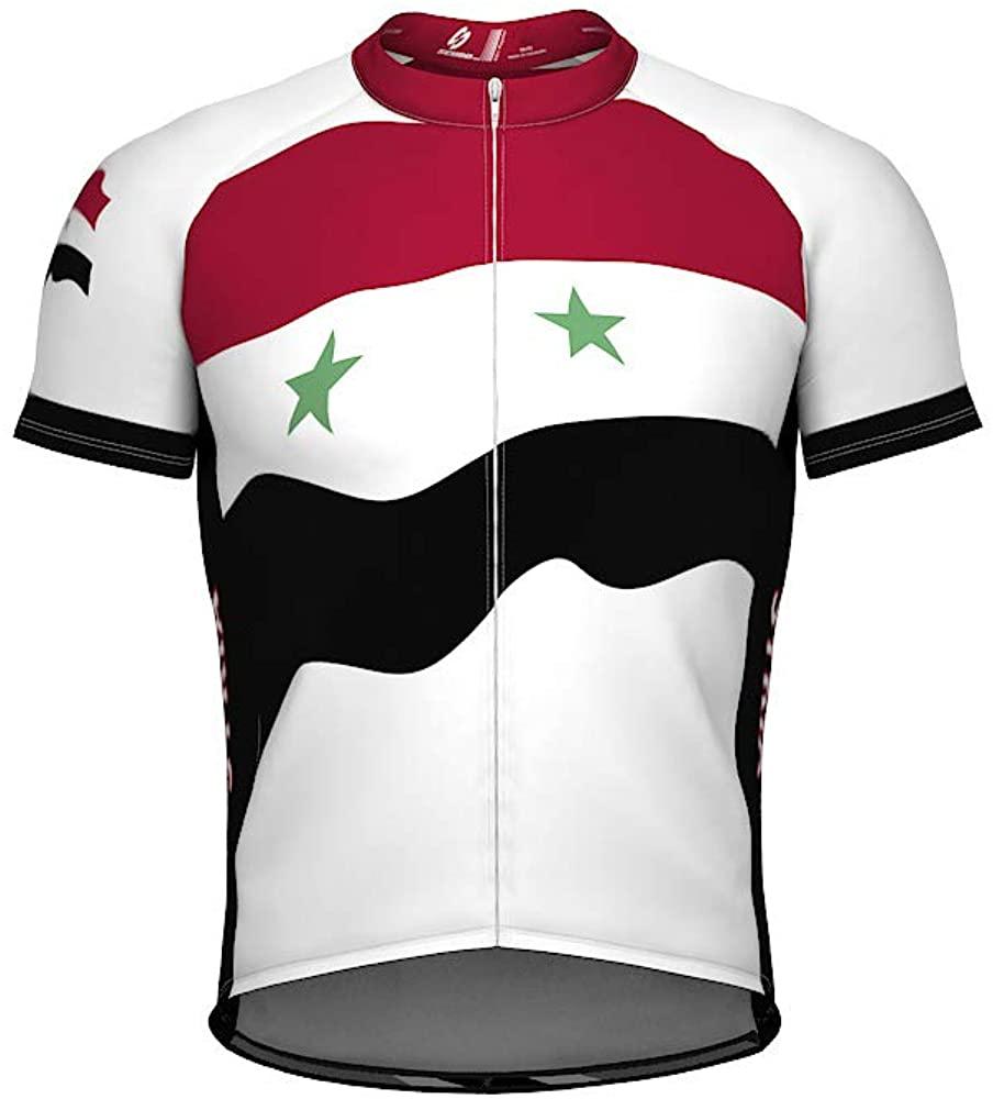 ScudoPro Syria Emblem Full Zipper Bike Short Sleeve Cycling Jersey for Men