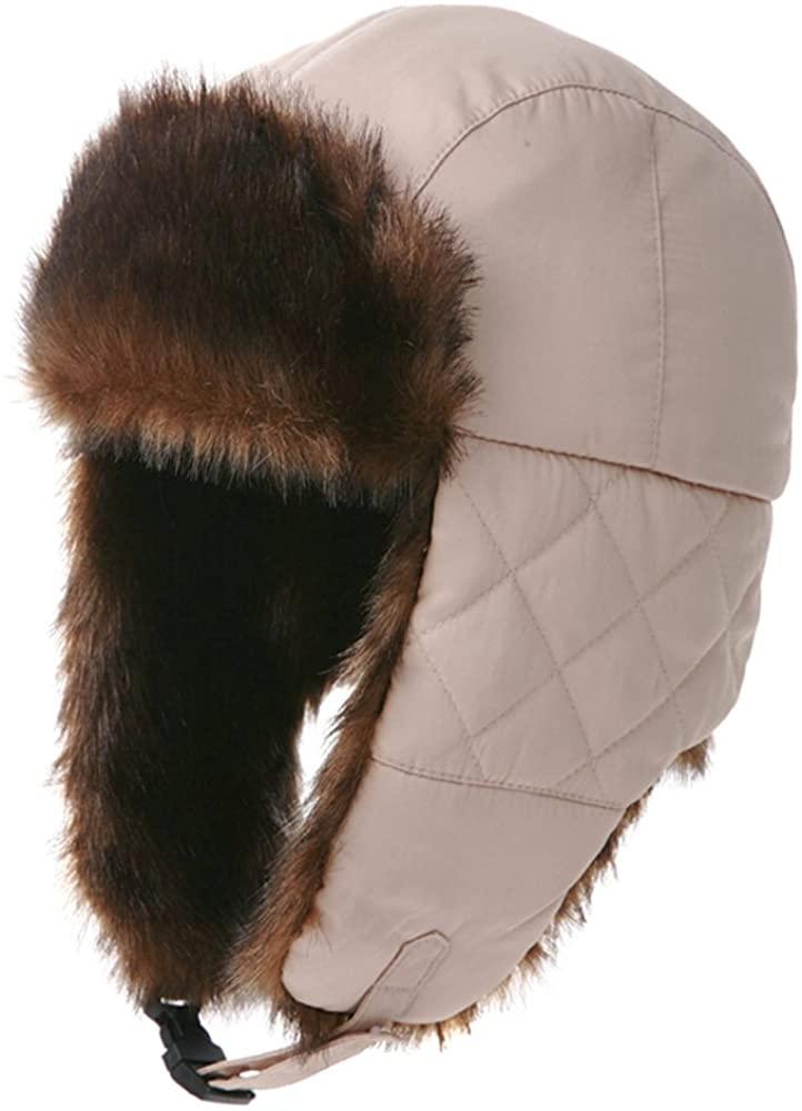 Men hat Lei Feng Cap Diamond Lattice of England caps Ear Protection hat Thick Warm Trapper Hat-A