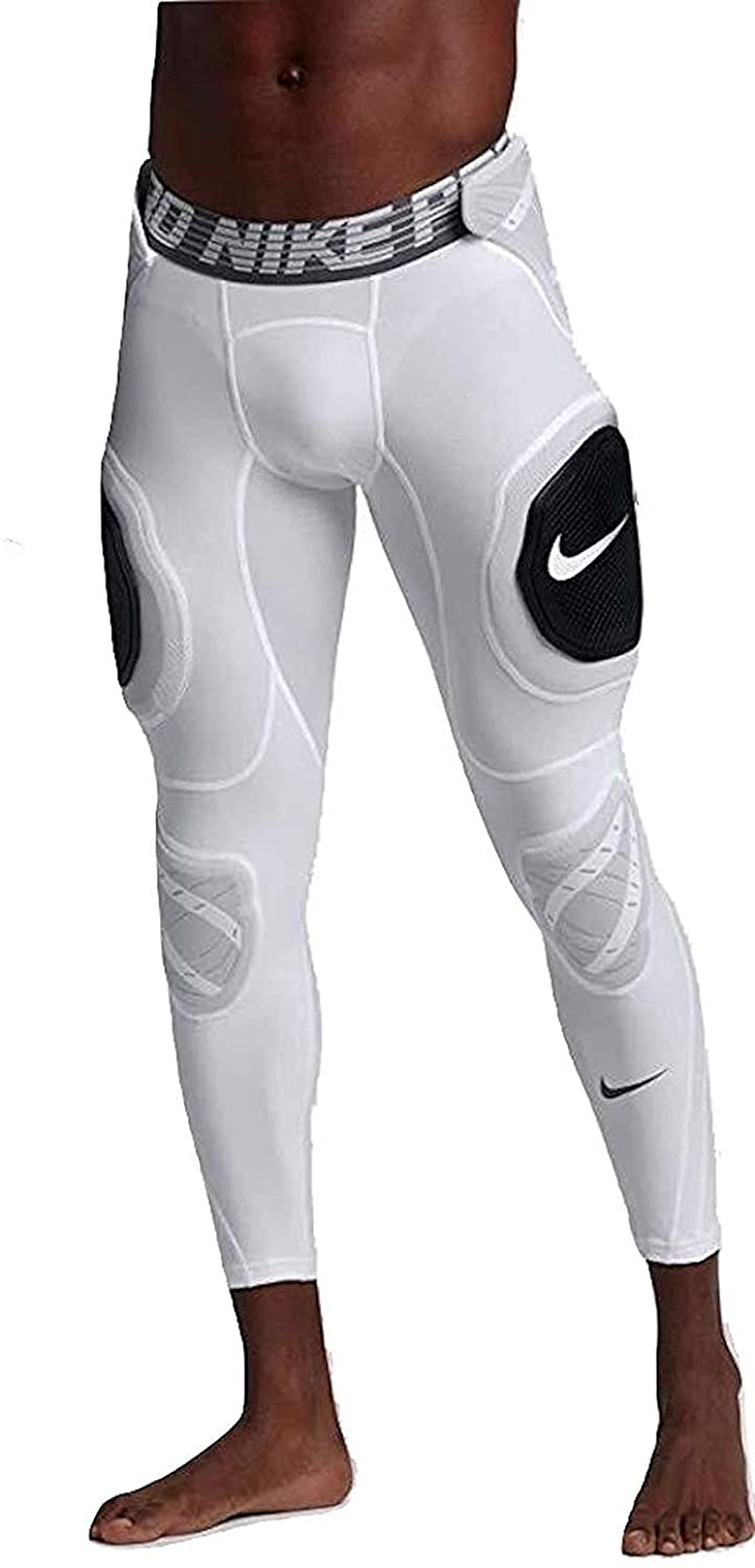 Nike Mens Pro Hyperstrong Hardplate 3/4 Football Tights Pants (X-Large, White/Black)