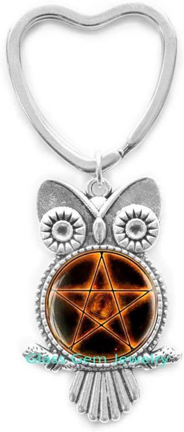 Fire Pentagram Owl Keychain, Pentagram Key Ring, Pentacle Key Ring, Pentacle Owl Keychain, Pentagram Jewelry, Occult Wiccan Owl Keychain, Men's Owl Keychain ,Q0020
