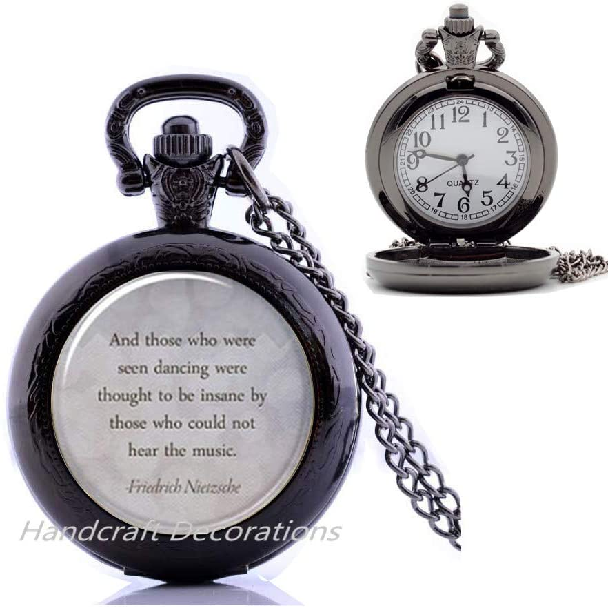 Inspirational Quote Pocket Watch Necklace,Those Who were Seen Dancing,Inspirational Pendant Jewelry Birthday Gift.F004