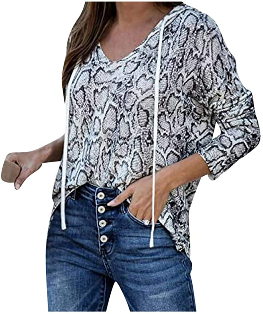 Drawstring Women's Tops Leopard Print Snake Print Lightweight Long Sleeve Knit Pullover Hooded Tops