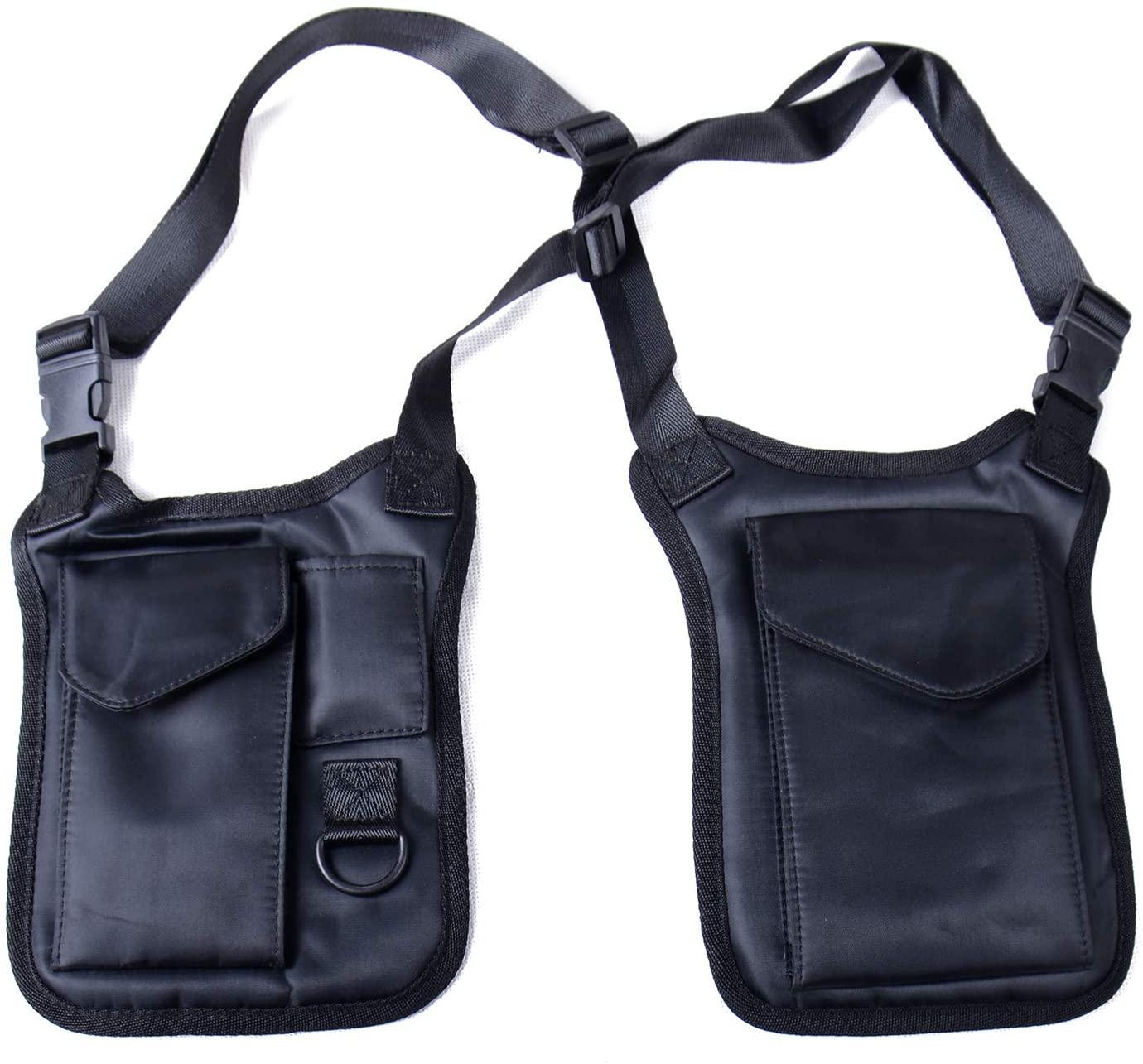 Anti-Theft Hidden Underarm Strap Wallet Holster Bag Leisure Nylon Double Shoulder Pocket Sport Vest Outdoors (Black)