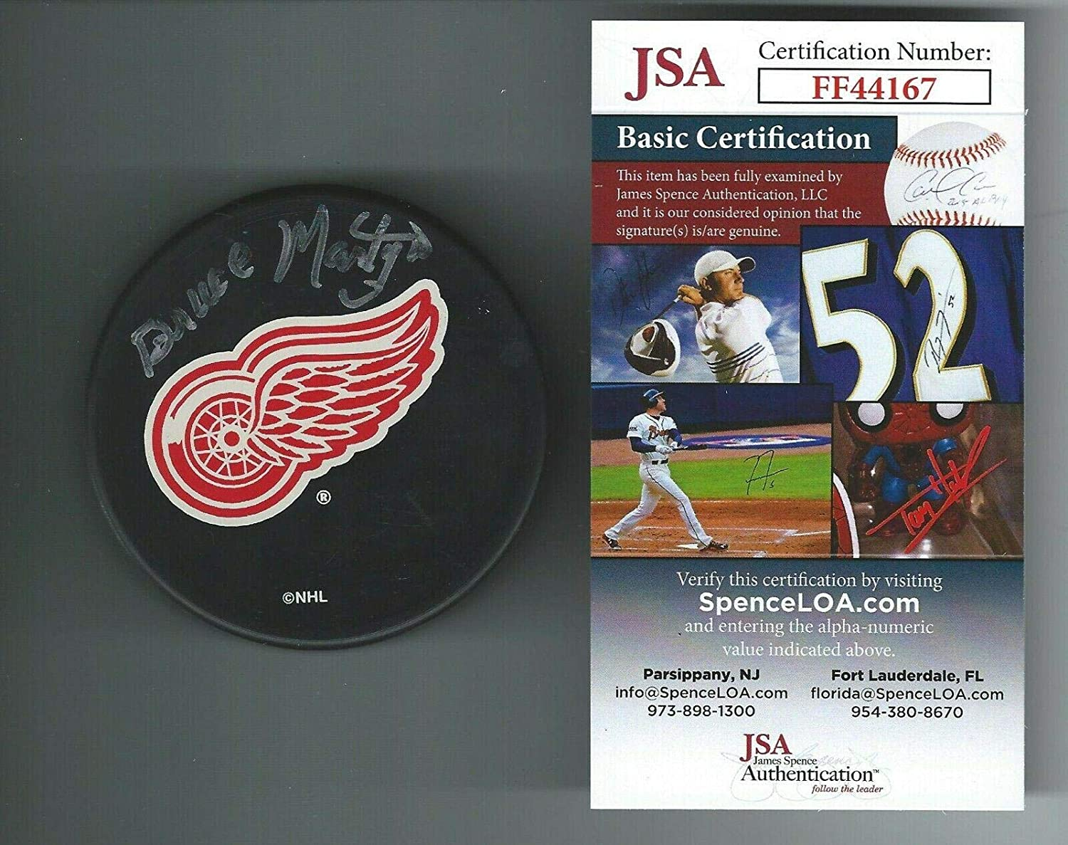 Bruce Martyn Signed Detroit Red Wings Puck COA - JSA Certified - Autographed NHL Pucks