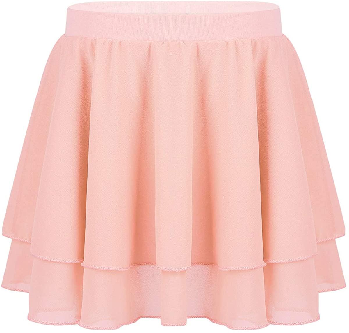 winying Girls Basic Chiffon Tiered Mini Elastic Waistband Pull On Skirt Ballet Dancewear