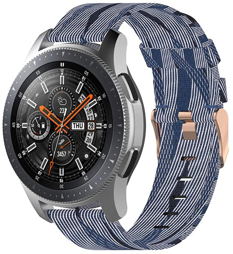 CMIOUEO 22mm Nylon Band for Samsung Gear S3 Galaxy Watch 46mm,Quick Release Metal Strap for Amazfit Pace/GTR 47MM/Pebble Time/Fossil Q/Ticwatch/LG/Huawei Watch 2