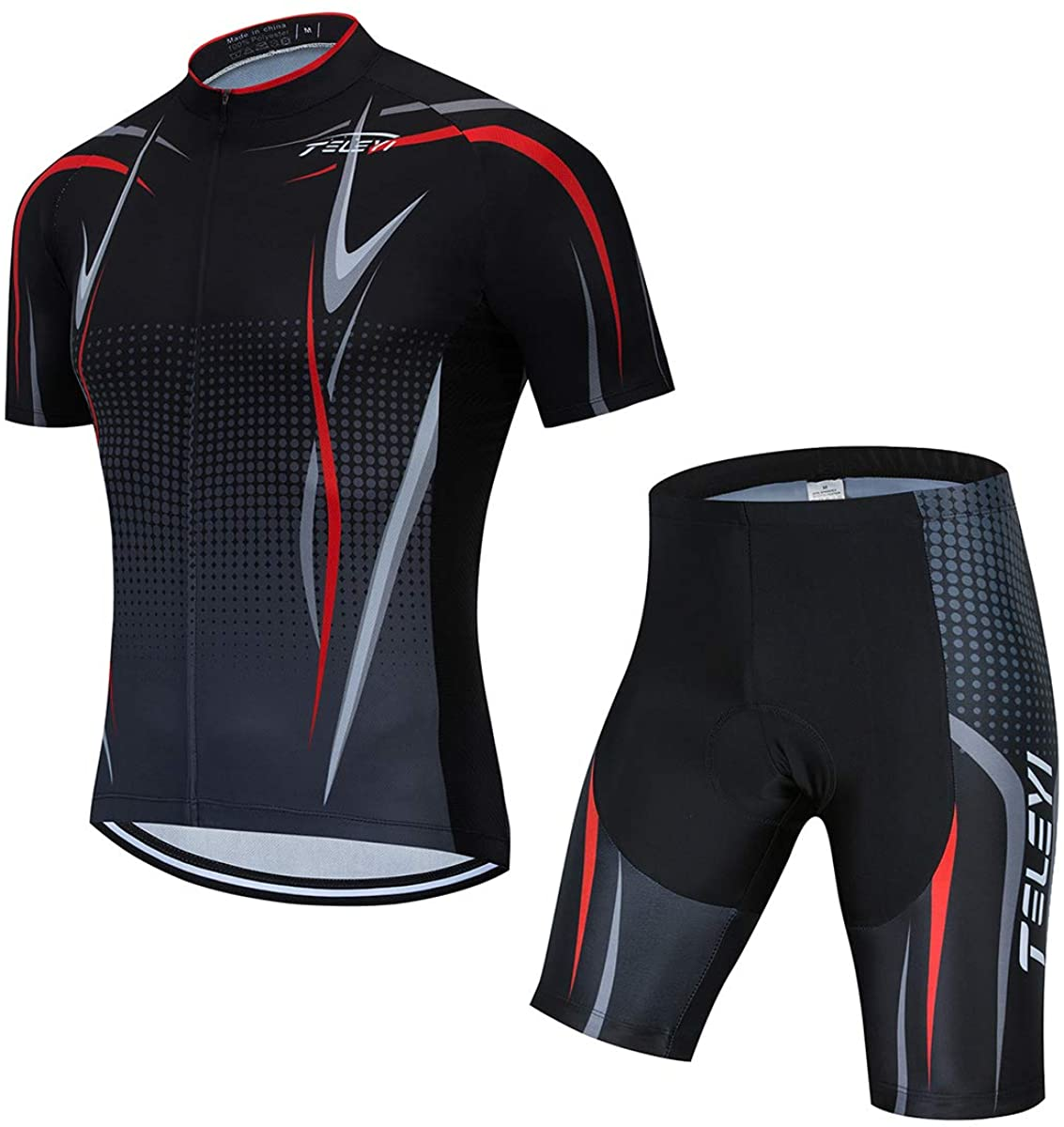PSPORT Men's Cycling Jersey Bib Shorts Black Sets Bike Clothing Short Sleeve