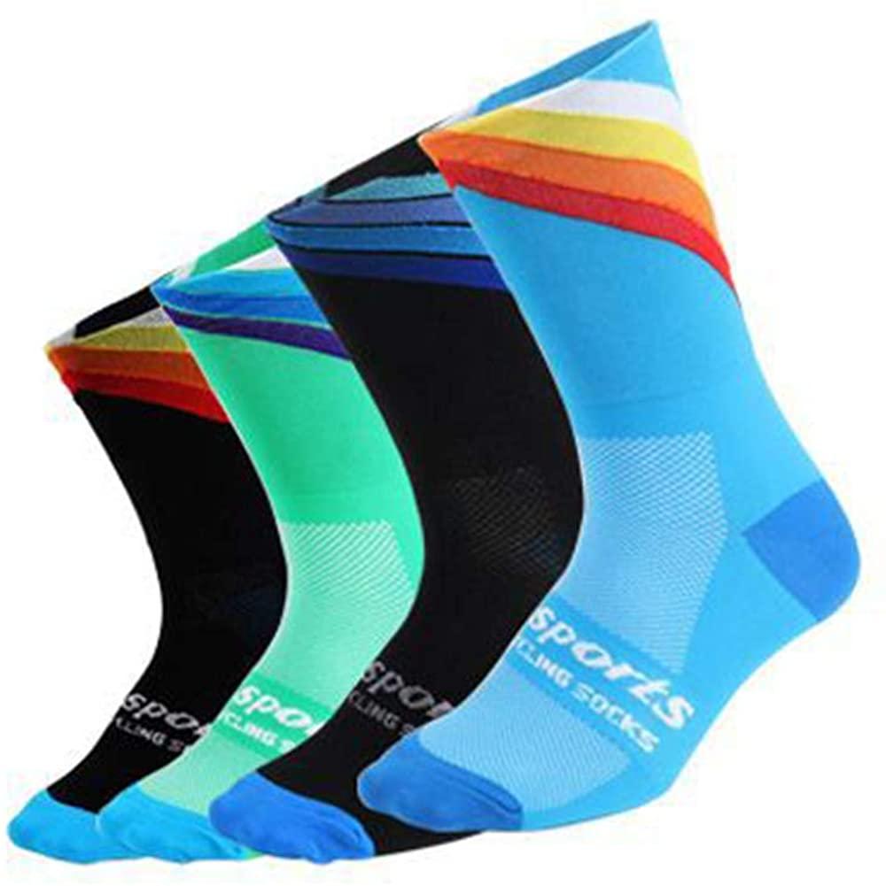YEMEKE Men's Authletic Cycling Running Crew Socks Size 6-11 Women Hiking Socks Unisex Breathable Socks