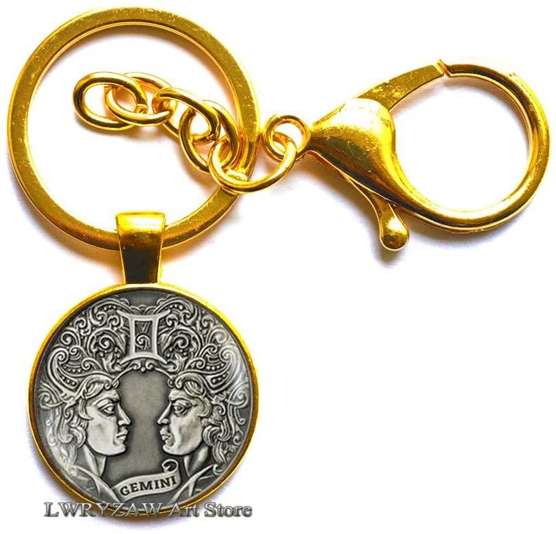 Gemini Constellation Keychain,Gemini Keychain, Zodiac Keychain, Zodiac Jewelry,Minimalist Keychain, Zodiac Jewelry,M27
