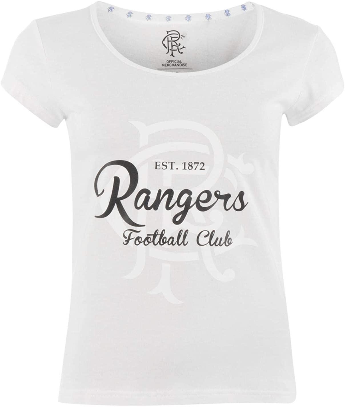Glasgow Rangers Crest Print T-Shirt Womens Football Soccer Fan Top Tee Shirt White UK 8 (X-Small)