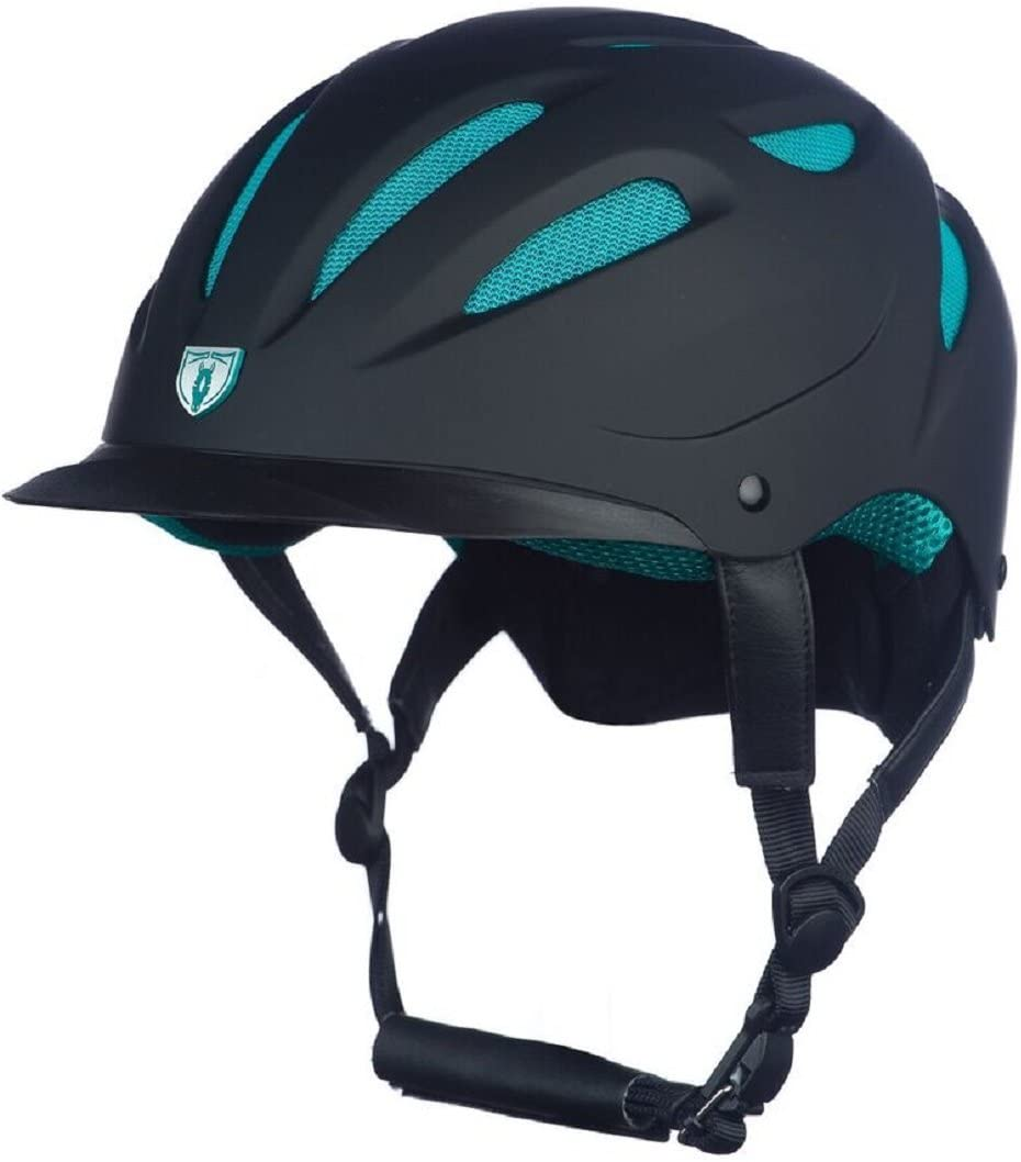 Tipperary Sportage Hybrid Western Riding Helmet Low Profile Horse Safety Black and Teal