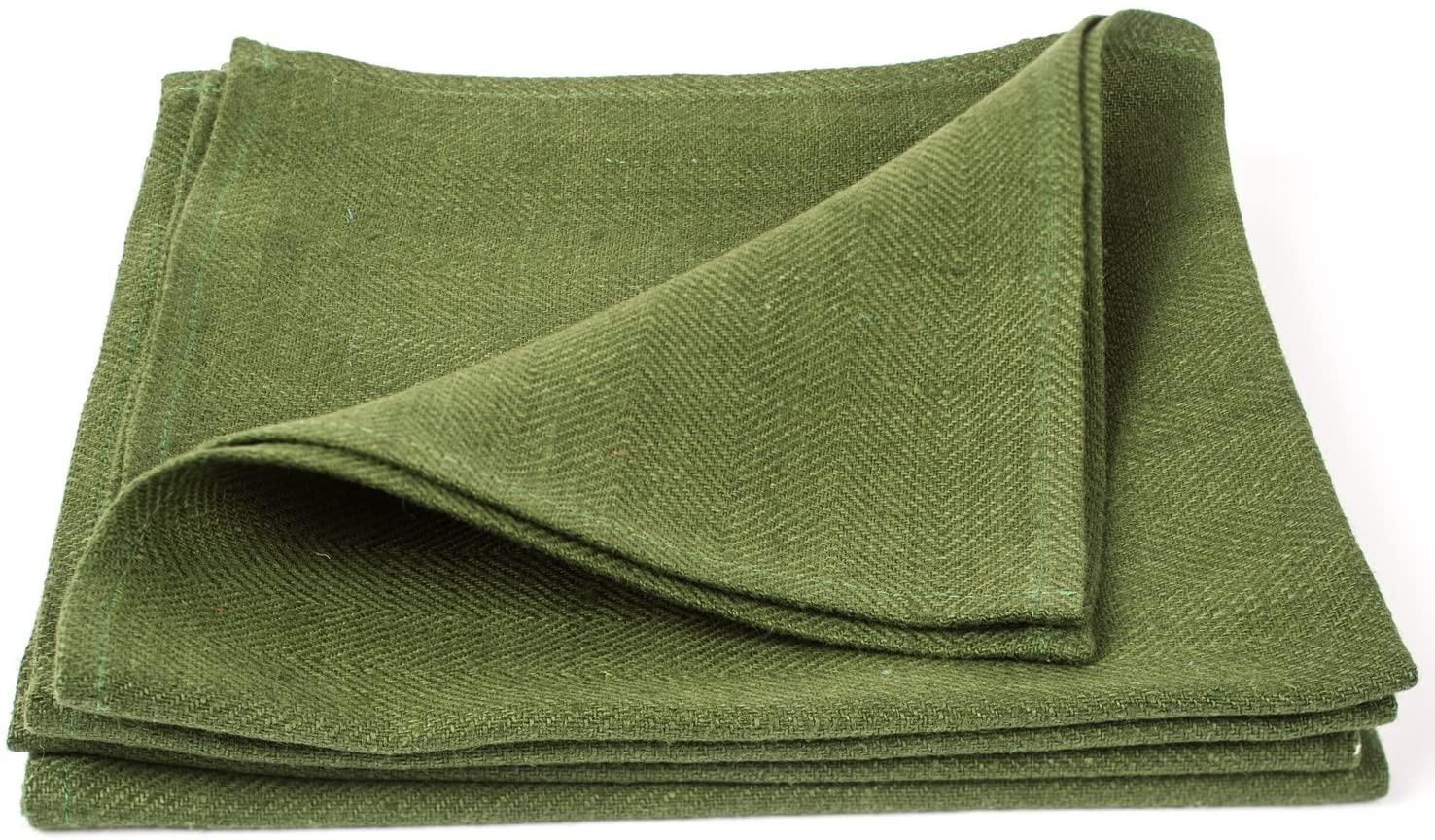 LinenMe X4 Lara Napkins, 20 x 20, Dark Green