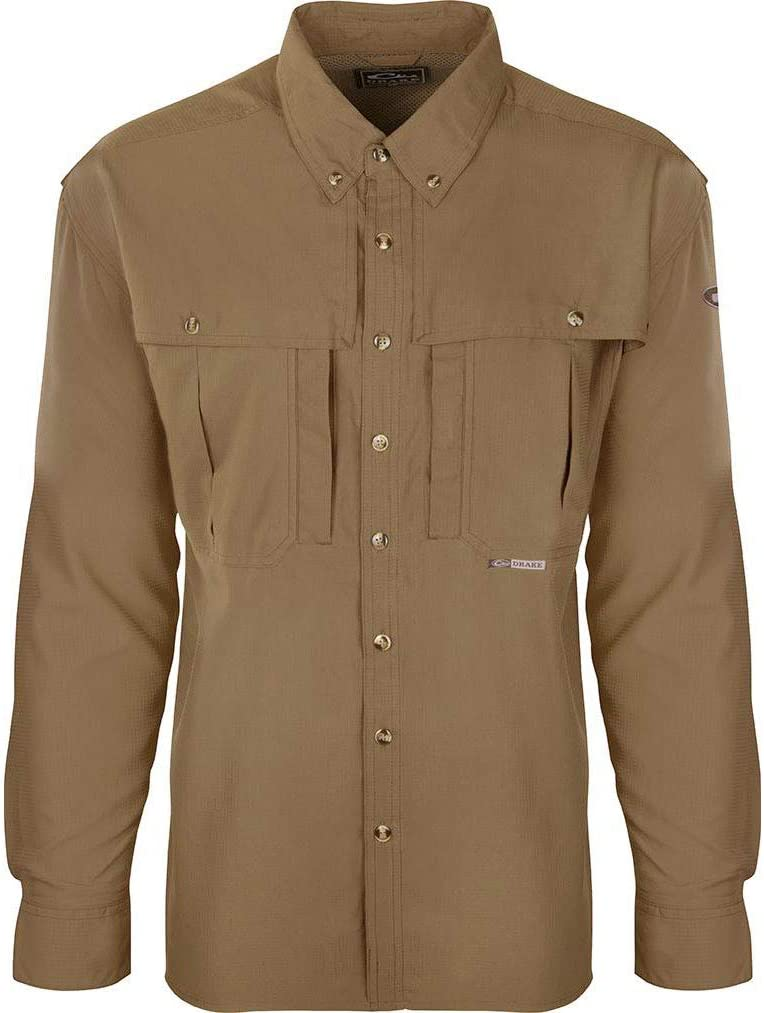 DRAKE Waterfowl Men's Flyweight Wingshooter's Quick-Drying Moisture-Wicking Breathable Long Sleeve Shirt