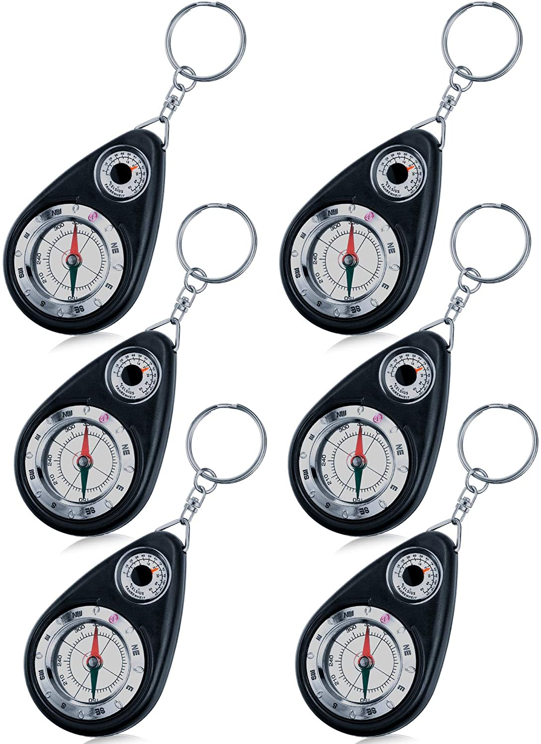 BBTO Keychain Compass Portable Compass Keyring for Guiding Outdoor Camping Hiking Backpacking Hunting Travelling (6 Pieces)