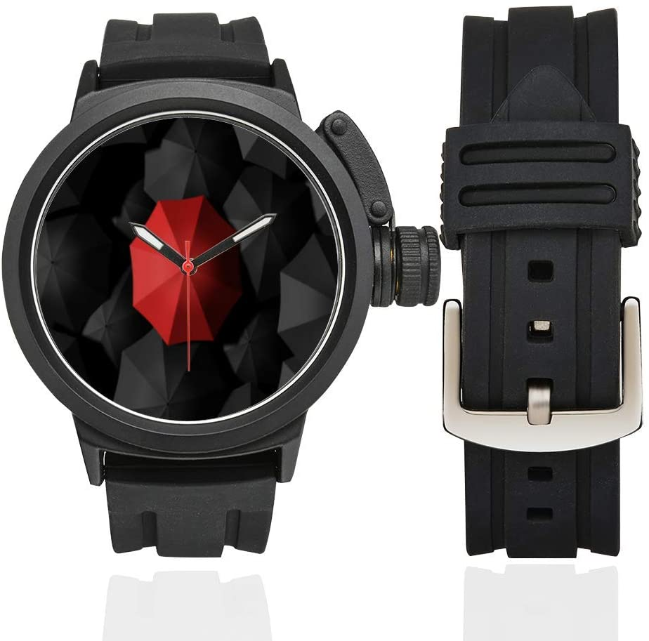 QUICKMUGS2U Unique Red Umbrella Men's Sports Analog Quartz Watch Large Face Wrist Business Casual Watch Men