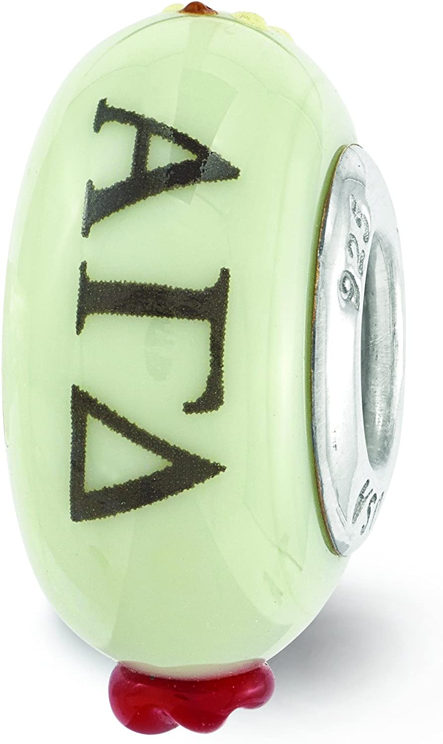Sterling Silver LogoArt Official Licensed Greek Sororities Reflections Hand Painted Alpha Gamma Delta (???) Glass Bead