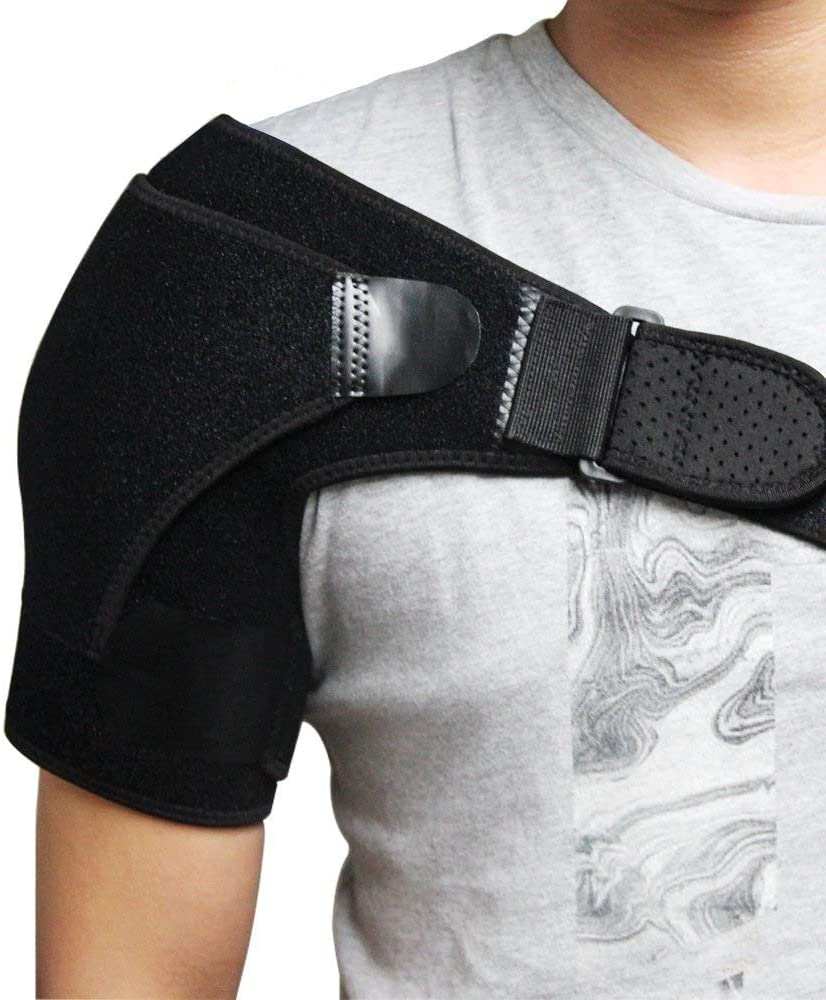 No-branded WWTLKJ Professional Shoulder Brace with Pressure Pad for Hot Cold Therapy Ice Pack Pain Injury Shoulder Posture Corrector Strap