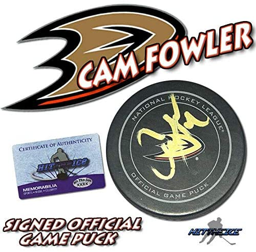 Cam Fowler Autographed Hockey Puck - Official w COA #2 - Autographed NHL Pucks