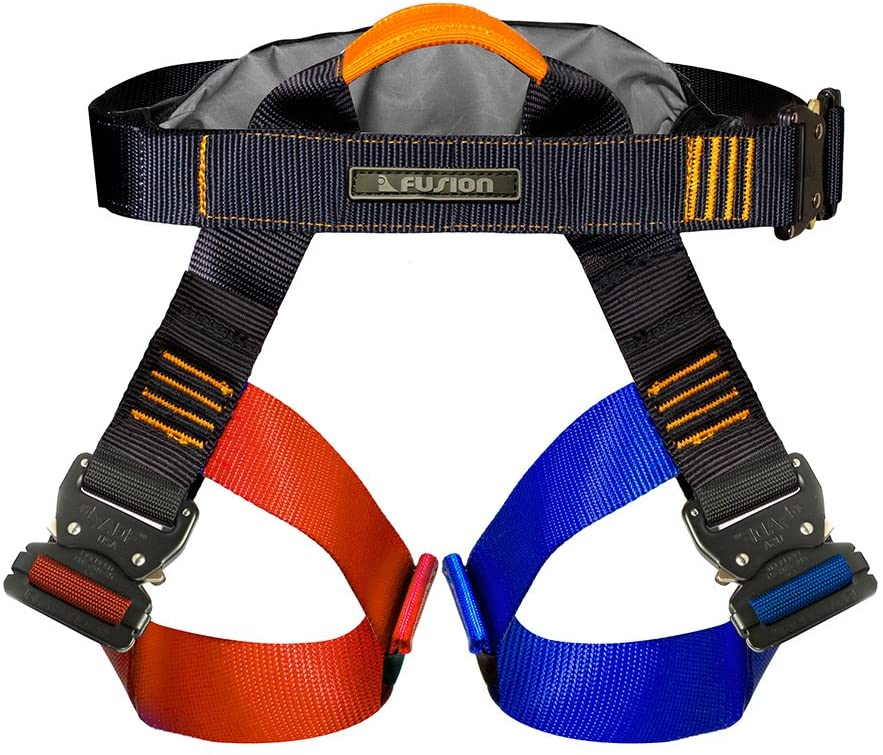 Fusion Tactical Duty Belt Artemis Military Police Half Body Search Rescue Harness, Black/Red/Blue, X-Large