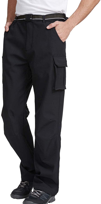 JOMLUN Men's Soft Shell Pants Waterproof Windproof Warm Fleece-Lined Cargo Pants for Outdoor Hiking Walking Ski Traveling