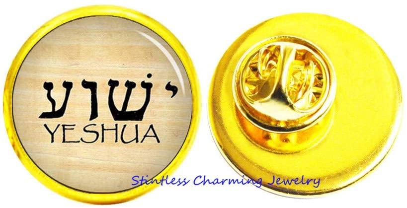 stintless charming Jewelry YHWH & Yeshua Brooch Pin,Hebrew Pin Charm,Tetragrammaton Pin Brooch,Art Glass Dome Pin,Bridesmaid Gift Birthday gift-JV198