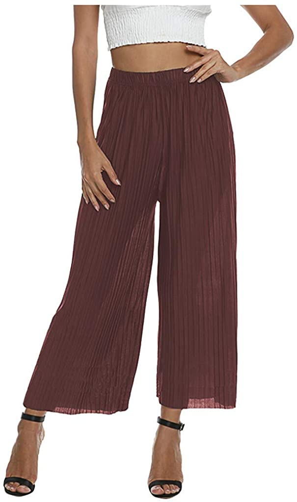 LATINDAY Women's Lightweight Flowy Elastic Waist Lounge Long Pleated Draped Wide Leg Leisure Pants Loose Trousers Pantskirt