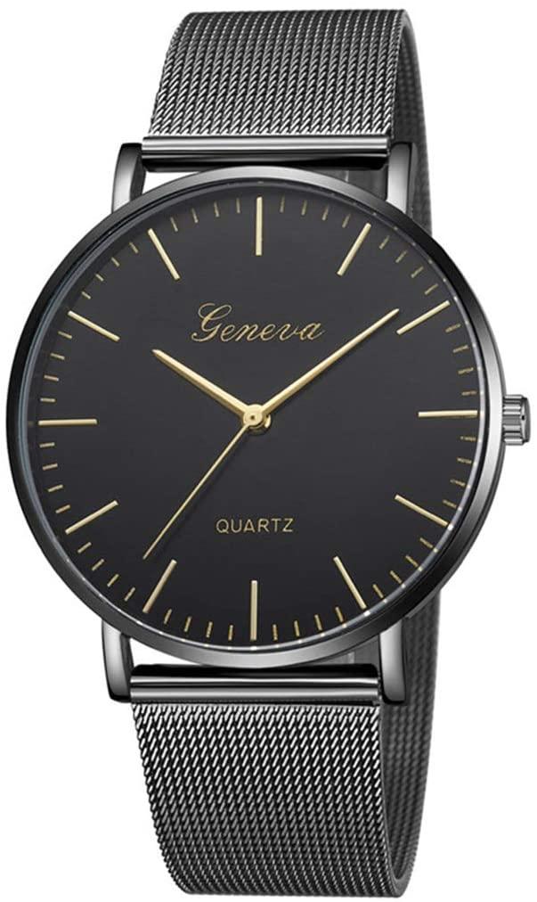 SheShiLs Modern Black Quartz Watch Men Women Mesh Stainless Steel Watchb Casual Wristwatch Gift for Female