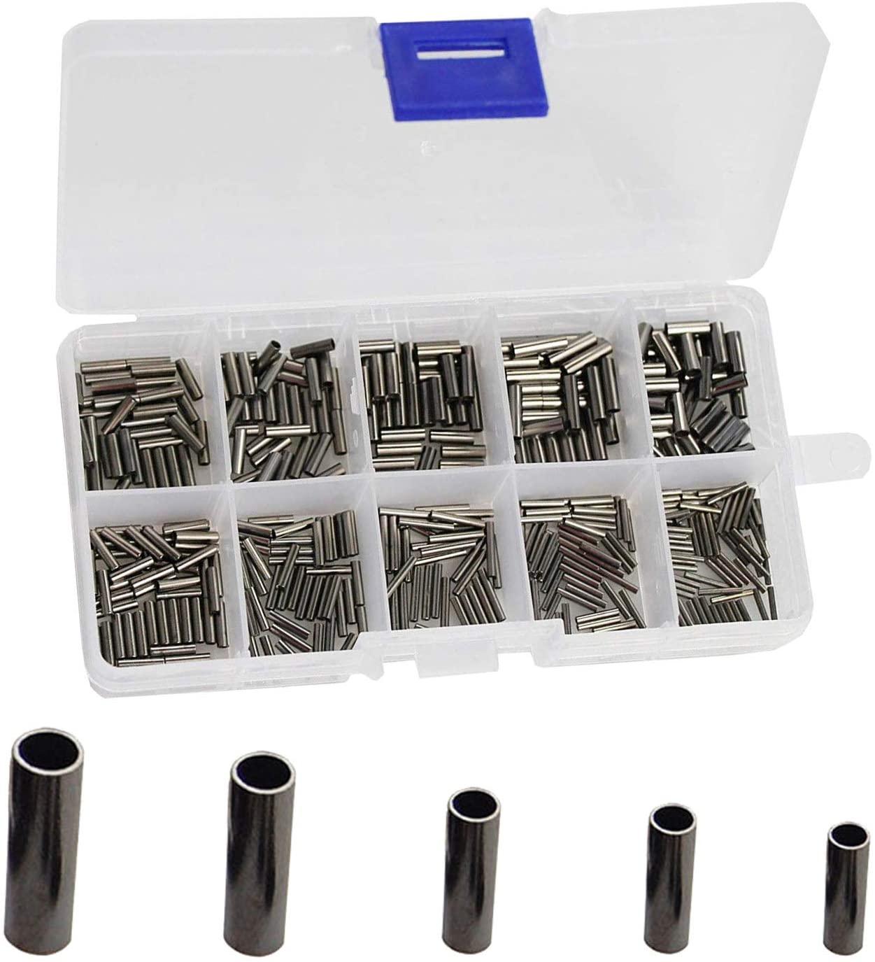 100pcs/box-400pcs/box Size: 1.2-2.4mm Fishing Wire Leader Crimps Single Barrel Crimping Sleeves 100% Copper Tube Connector Fishing Tackle Kit