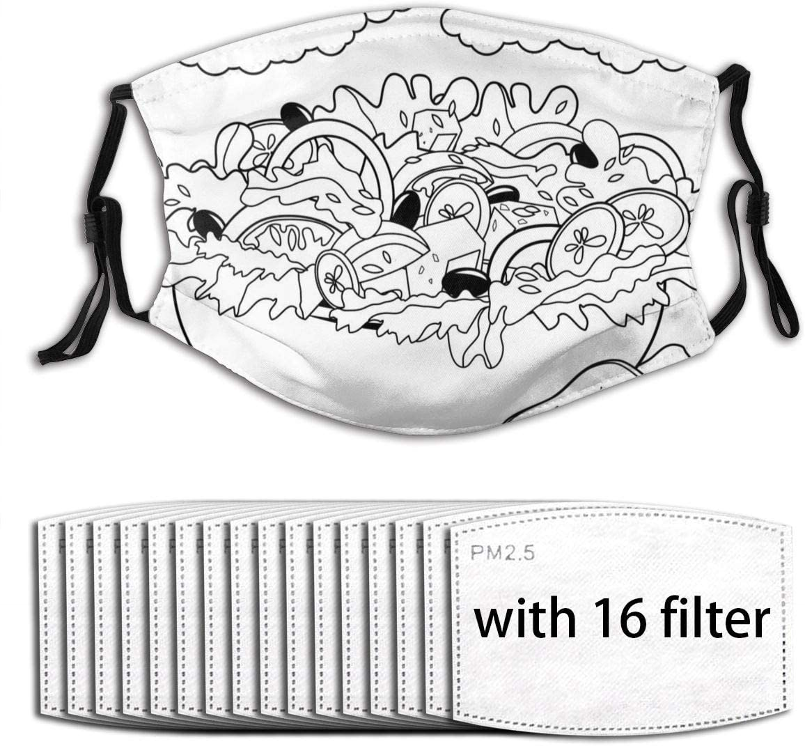 Ladninag Greek Salad Cartoon Cute Women Men Fillter Face Cloth Washable Mouth Cover Nose Anti Dust Wind Sun Ear Loops Adjustable for Running Double Protection Adult