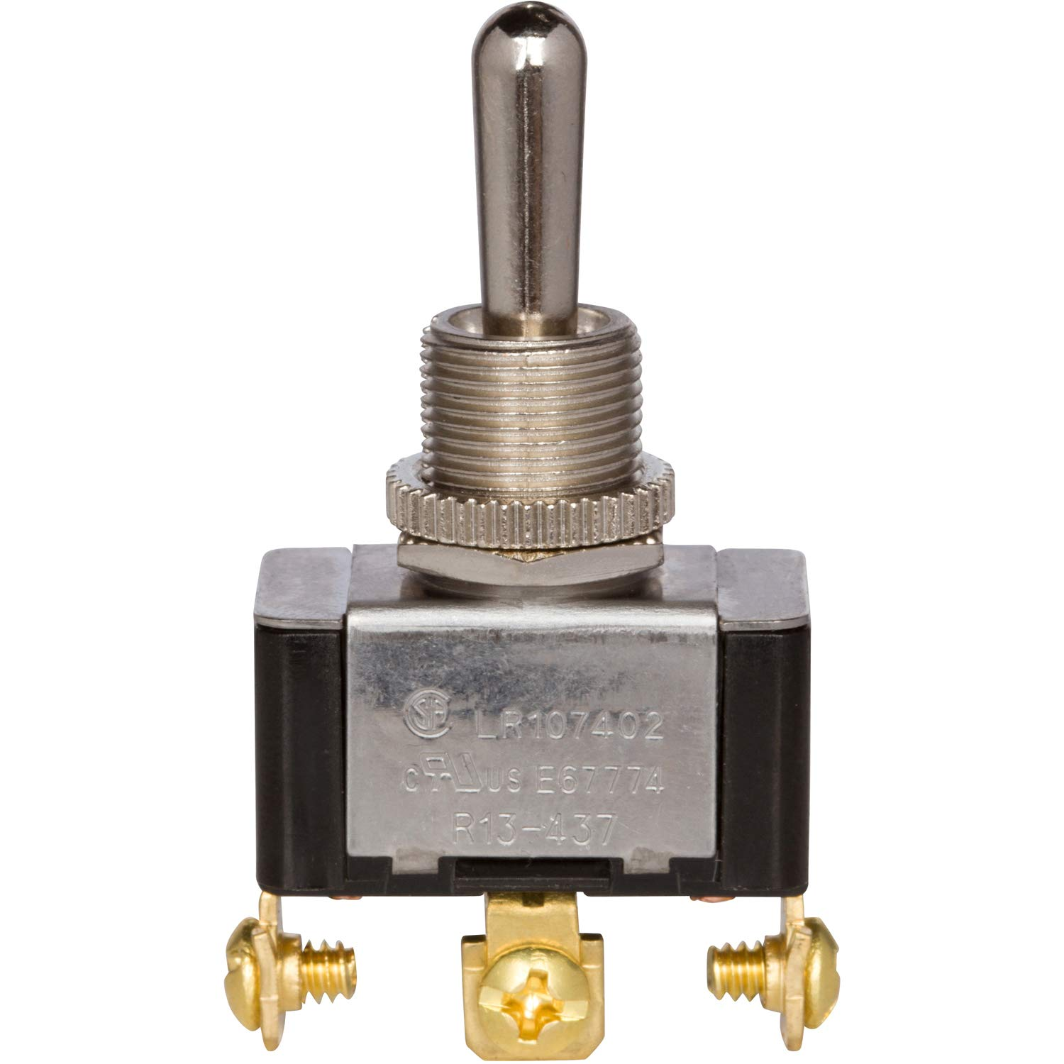 """Morris Products Momentary Contact Toggle Switch – Heavy Duty, SPDT 3 Screw Terminals – (On)-Off-(On) – 1500V Dielectric Strength, 100,000 Mechanical Life Cycles – CURus Listed – 1.13"""" x .63"""" x .70"""""""