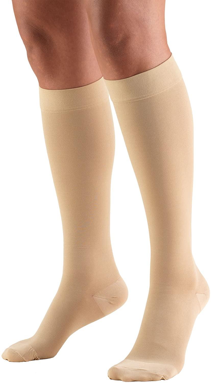 Truform 30-40 mmHg Compression Stockings for Men and Women, Knee High Length, Closed Toe, Beige, Medium