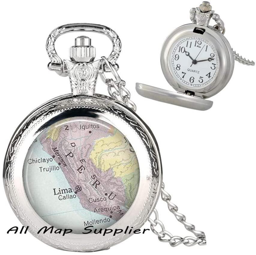 AllMapsupplier Fashion Pocket Watch Necklace,Peru map Pocket Watch Necklace,Peru map Pendant Peru Pocket Watch Necklace Peru Pendant Lima map Pocket Watch Necklace map Jewelry,A0216