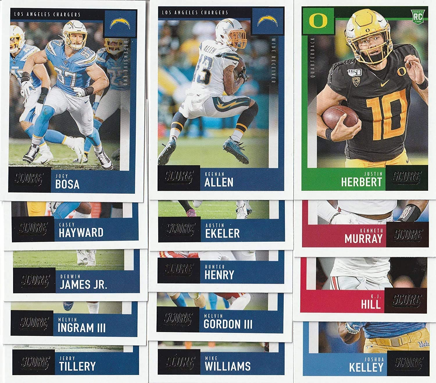 2019 2020 Panini Score Football Los Angeles Chargers 2 Team Set Lot Gift Pack 25 Cards W/Drafted Rookies Includes Justin Herbert RC