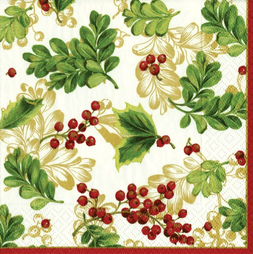 Entertaining with Caspari Winter Berries Cocktail Napkins, Green, Box of 40