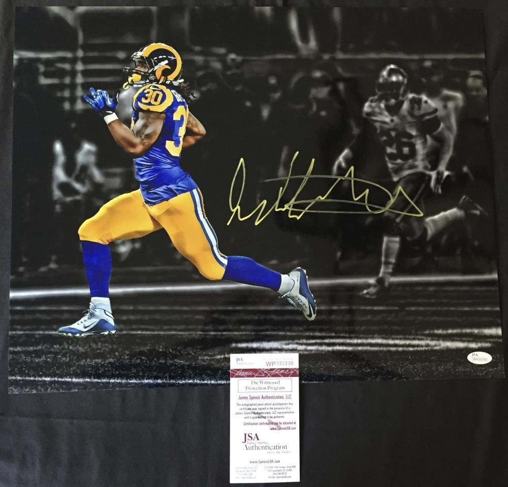 TODD GURLEY SIGNED 16X20 PHOTO ST LOUIS LOS ANGELES RAMS BULLDOGS PROOF JSA J30