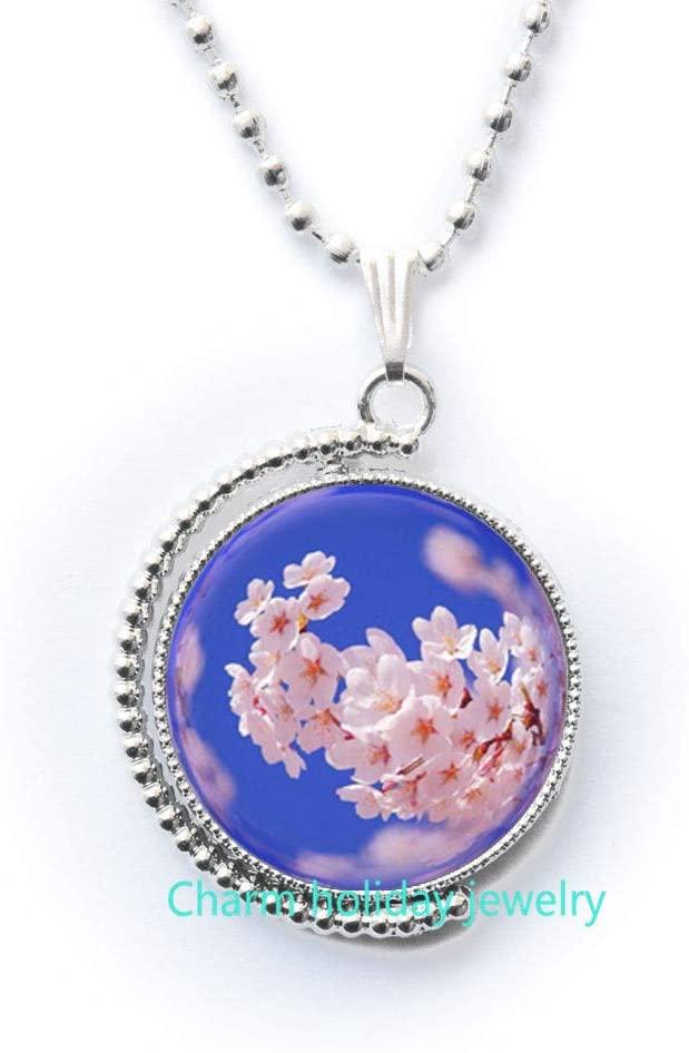 Charm holiday jewelry Pink Cherry Blossom Art Pendant, Pendant,Pink Cherry Blossom Necklace, Necklace,Pink Pendant,Pendant-#172