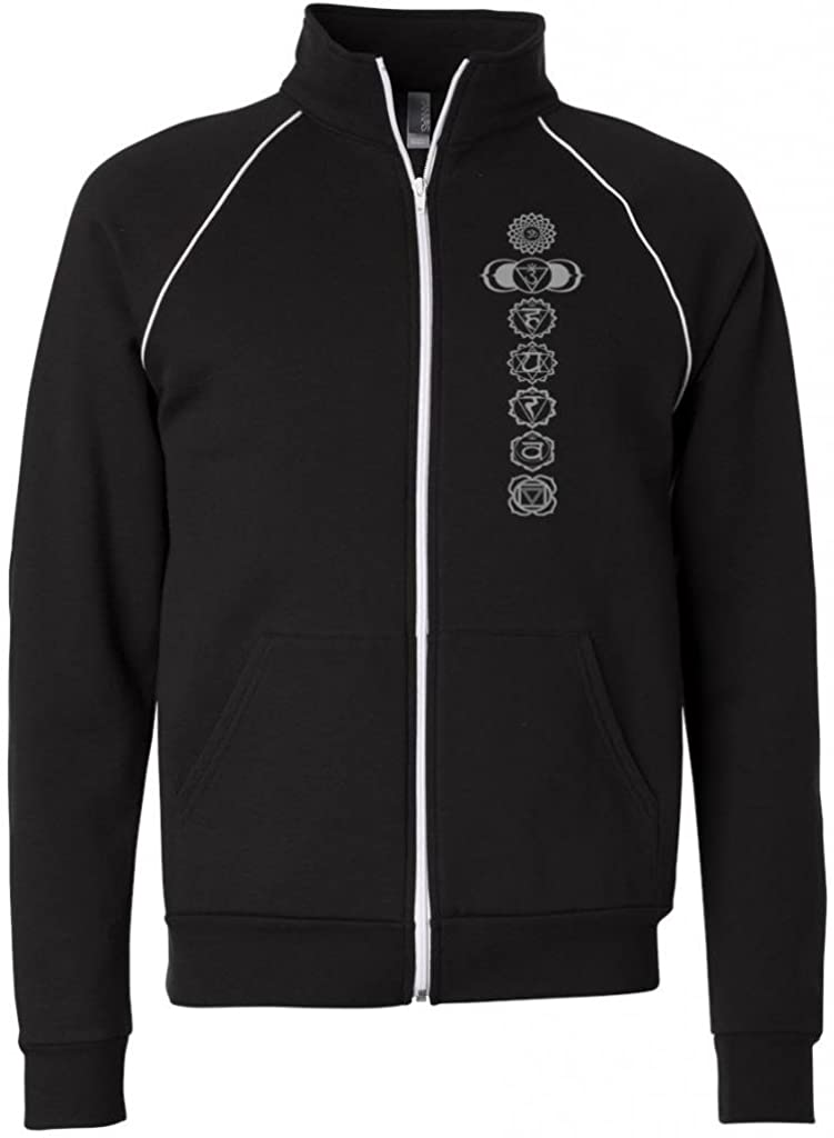 Yoga Clothing For You Mens Full-Zip 7 Chakras Jacket with Piping