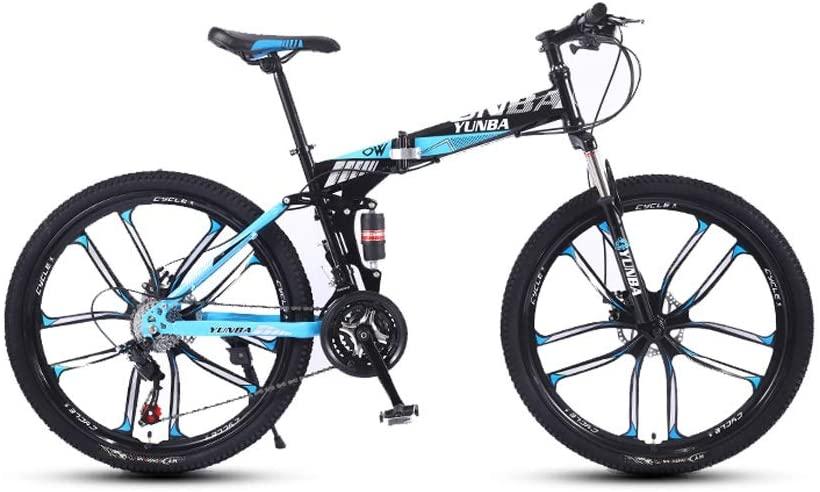 LRHD Mountain Bike Fashion Road Bike 24 Speed Folding Urban Track Bike 24-inch Shift Male and Female Students Double Shock Absorber Adult Dual Disc Double Shock Absorber Beach Bicycle