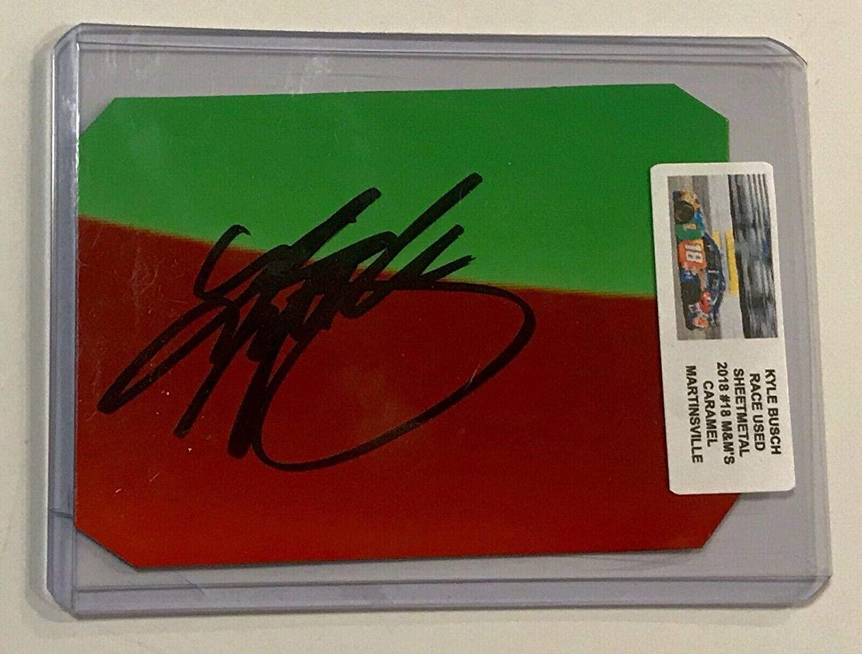 2018 Kyle Busch M&M's Caramel Signed Nascar Race Used 2x3 Sheetmetal Piece #3 - NASCAR Autographed Race Used Items