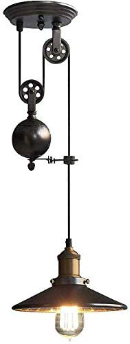 Lamp Suspension Chandelier Lampshade Metal Pendant Lights Retro Industrial Decorative Lighting Adjustable-Black