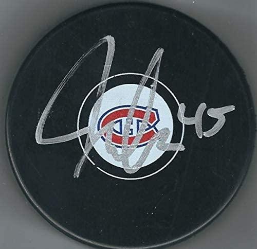 Autographed Joseph Morrow Montreal Canadiens Hockey Puck