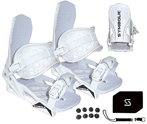 Symbolic Custom-Flow White Snowboard Bindings & Leash & Stomp Pad Kids XS-Small