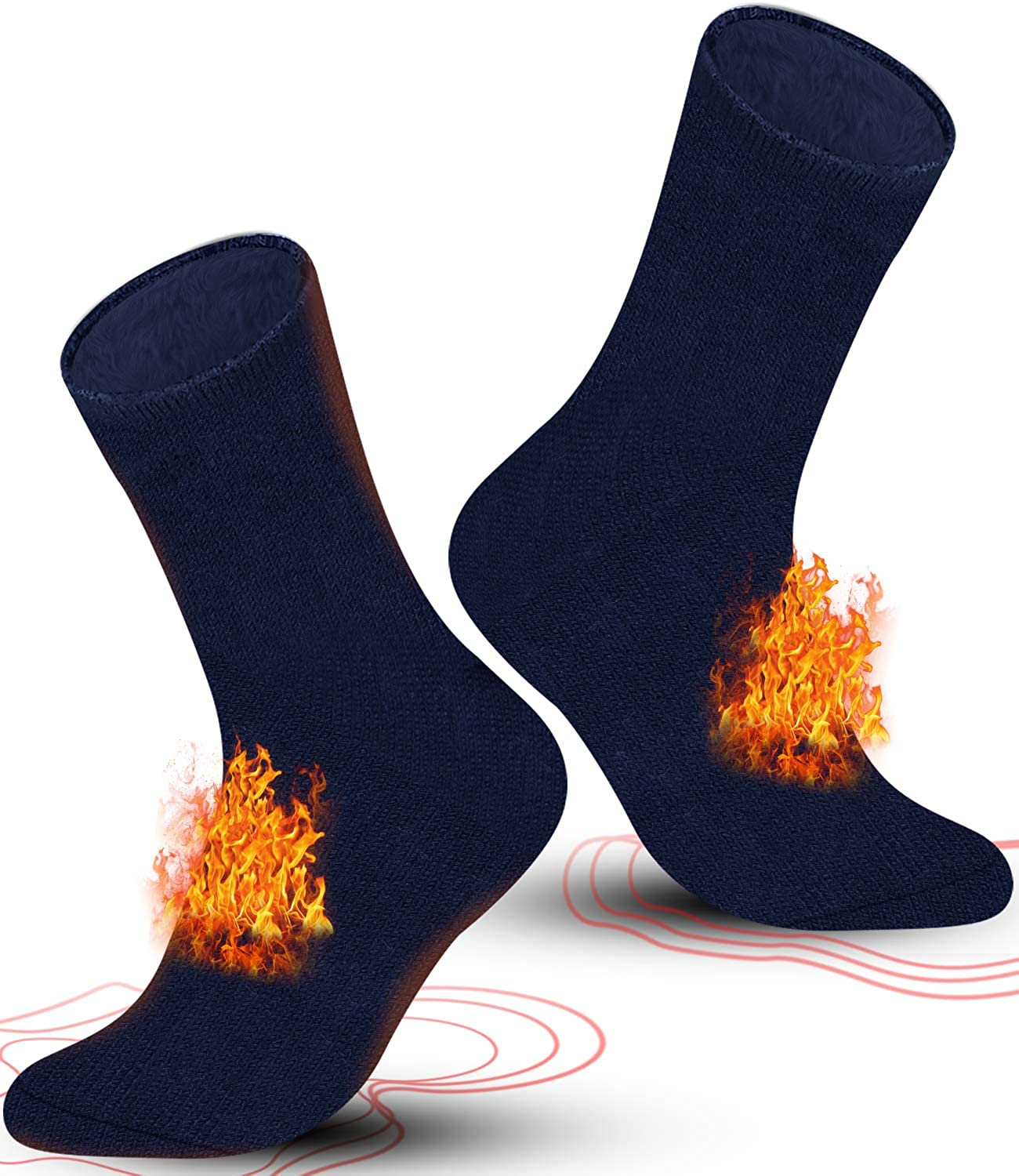 Fuzzy Warm Socks for Women, 2 Pairs of Mens Heated Socks, Winter Insulated Boot Thermal Socks for Skiing, Hiking