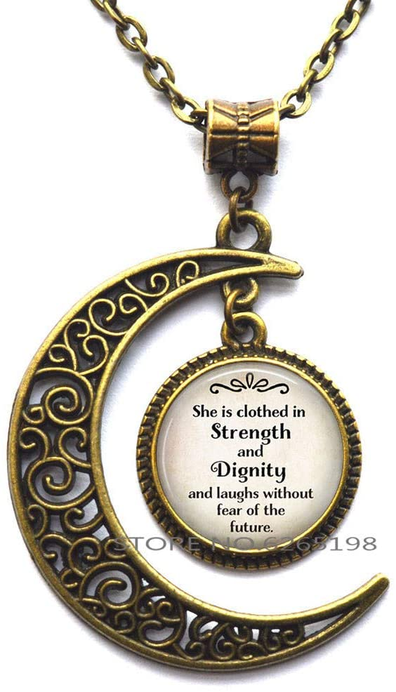 She is Clothed in Strength and Dignity Proverbs 31:25 Bible Quote Pendant, Inspirational Jewelry Scripture Necklace,N344