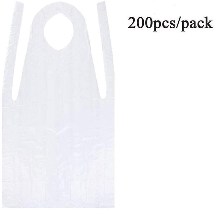 200pcs Women Men Disposable Apron Waterproof Oil Proof Antifouling PE Plastic Apron For Cooking Painting Household Cleaing Apron