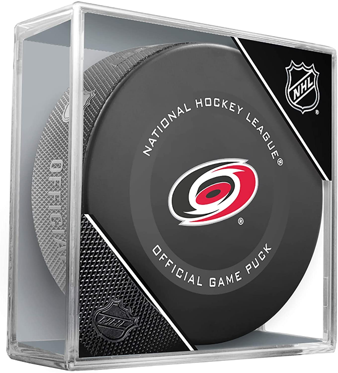 Carolina Hurricanes Official Game Hockey Puck with Holder