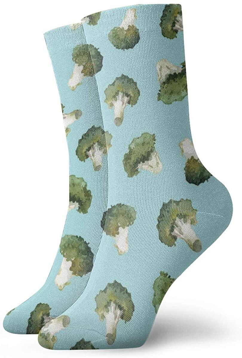 Watercolor Broccoli Pattern Performance Sock Athletic Crew Short Socks Outdoor Socks